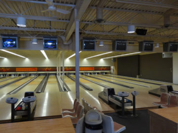 Bowling Lanes at HJ's Family Bowling Centre in Grande Prairie, Alberta.