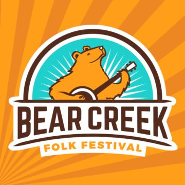 Bear playing a banjo with Bear Creek Folk Festival written below