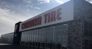 The Canadian Tire store front at Canadian Tire #344 in Grande Prairie, Alberta.