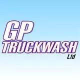 A purple, white, and blue logo for GP Truckwash