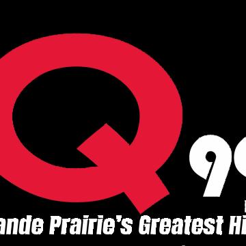 Large red Q smaller white 99 Fm Grande Prairie's Greatest Hits