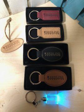 Engraved keychains from Redline Engraving in Grande Prairie, Alberta.