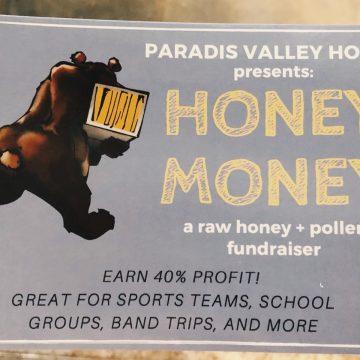 Paradis Valley Honey Money Fundraising card.