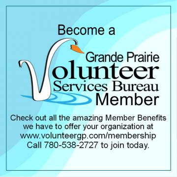 Grande Prairie Volunteer Services Bureau contact and information graphic