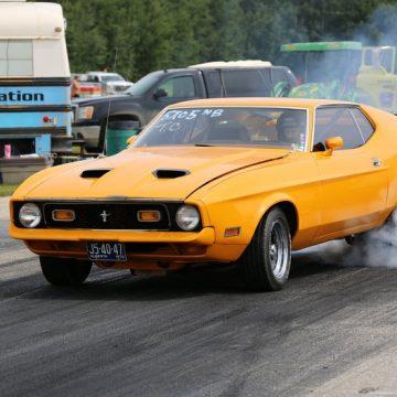 Yellow racing car at North Peace Bracket Racing Association.