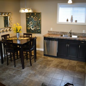 Kitchen and dining room at Fresh Coast Investments in Grande Prairie, Alberta.