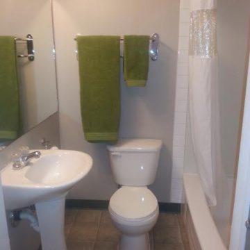Bathroom at the Brookside Apartment Hotel in Grande Prairie, Alberta.