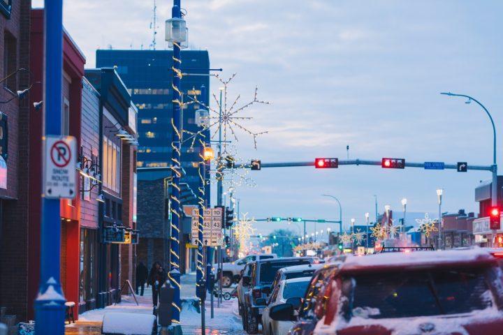 downtown lights in grande prairie
