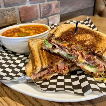 A soup and grilled sandwich from Red Rock Urban BBQ.