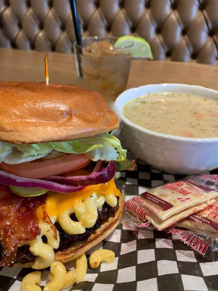 burger and soup meal at red rock urban bbq