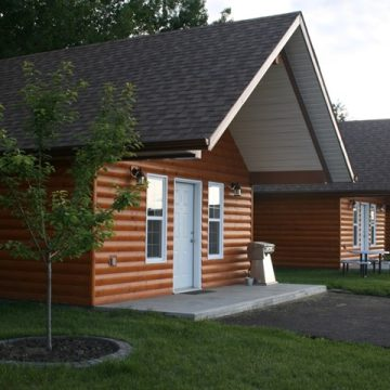 Cabins at Happy Trails Campground and Cabins in Grande Prairie, Alberta.