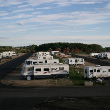 RV Sites and cabins at Happy Trails Campground and Cabins in Grande Prairie, Alberta.