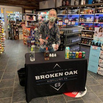 Offering some tastings at Broken Oak Distilling Co in Grande Prairie, Alberta.