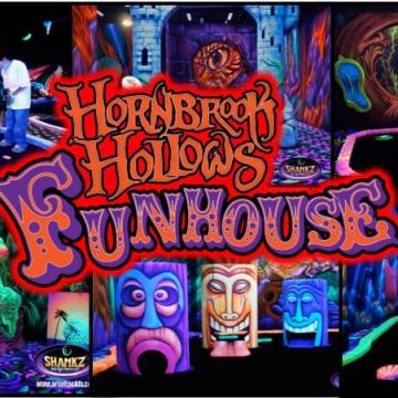 Logo for Hornbrook Hollows Funhouse in Grande Prairie, Alberta.