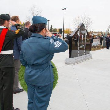 Cadet playing trumpet at the Veterans Memorial Park in Grande Prairie Alberta.