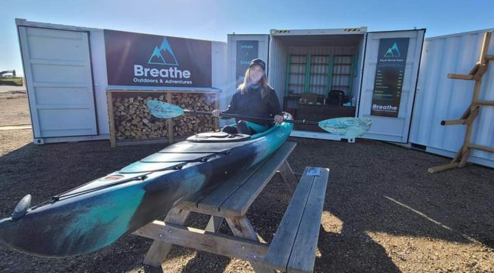 woman with kayak rental