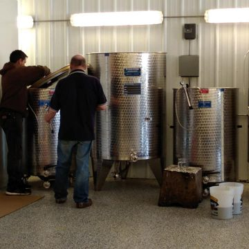 Wine vats at the Joosed Moose Winery