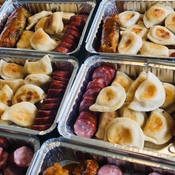 Perogies, sausage, and cabbage rolls from Done Like Dinner in Grande Prairie, Alberta.